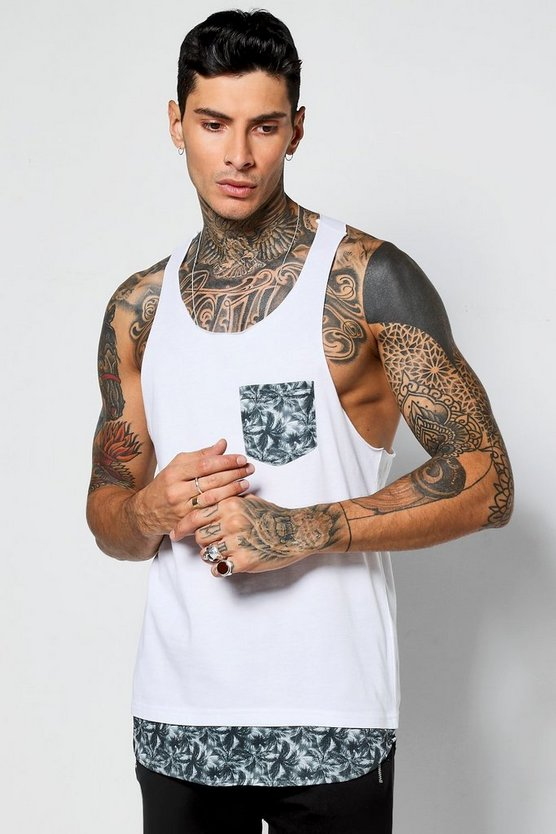 Skater Racer Vest With Leaf Print