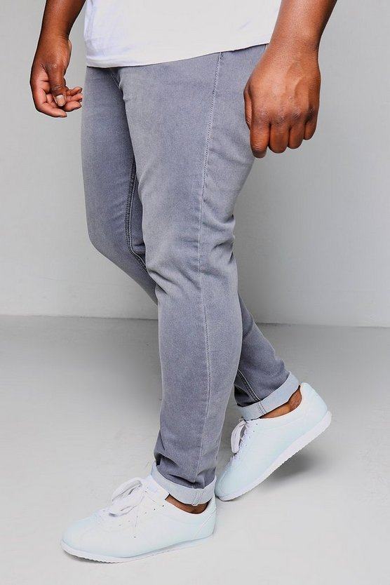 Big And Tall Grey Skinny Fit Washed Jeans
