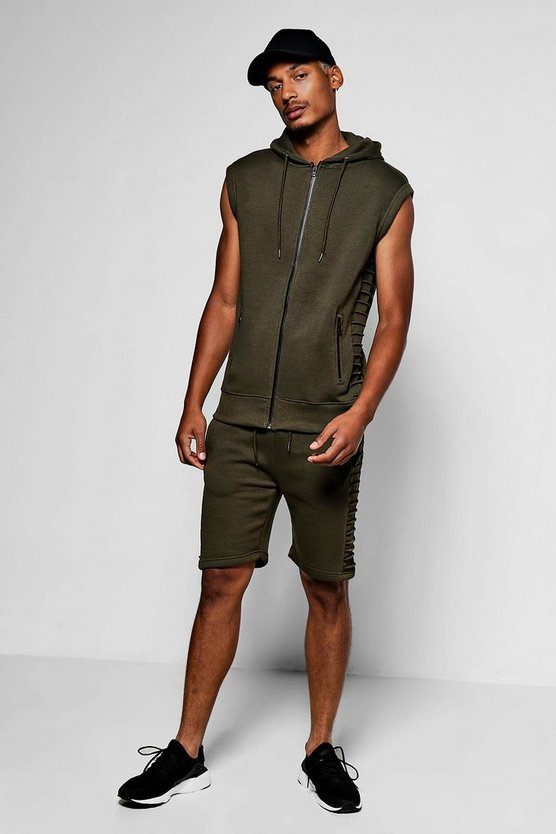 Sleeveless Hooded Biker Short Set