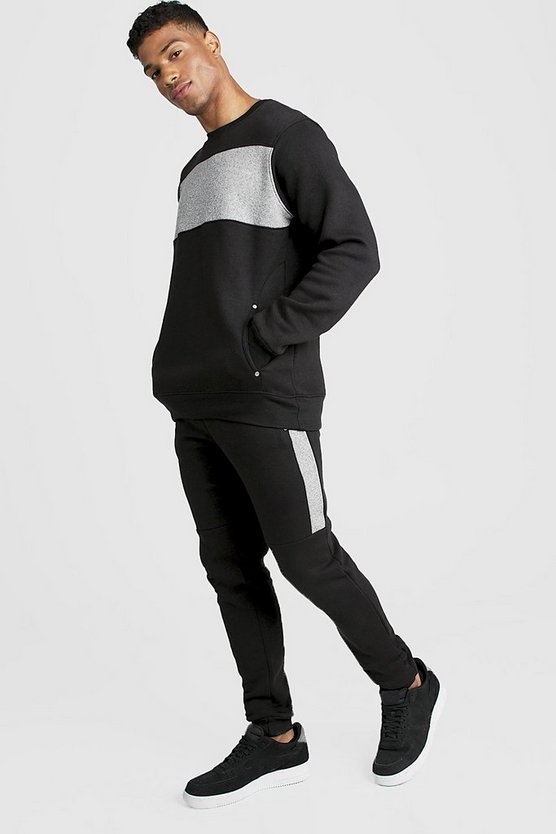 Skinny Fit Contrast Chest Panel Tracksuit