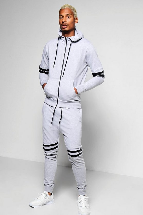 Skinny Fit Hooded Tracksuit With Stripe