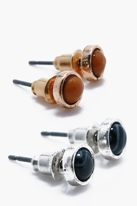 Pack Stone Stud Earrings - multi