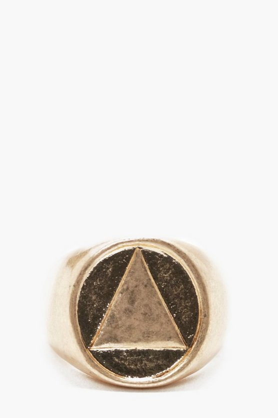 Geo Engraved Signet Ring