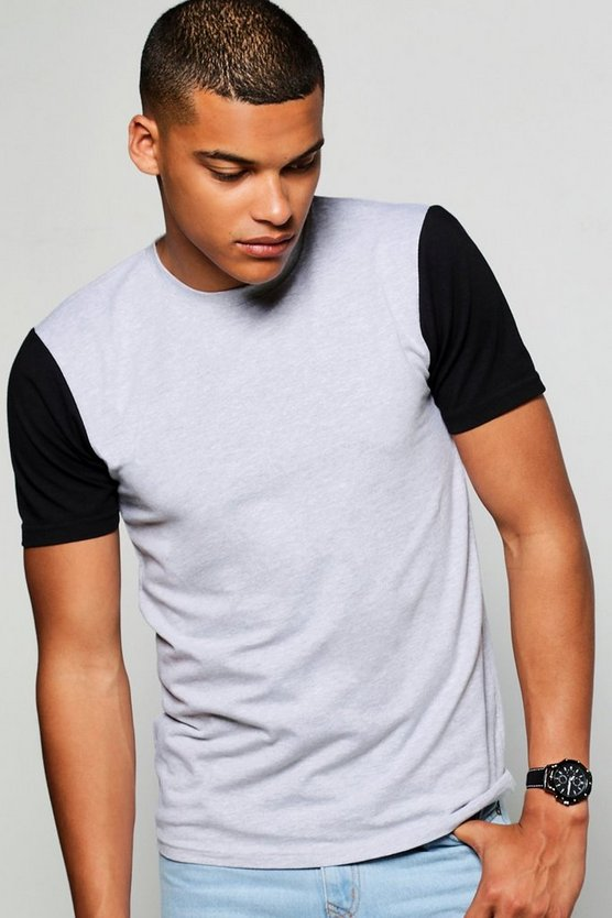 Contrast Sleeve Muscle Fit T-Shirt