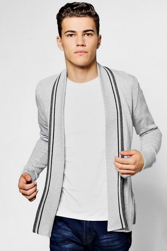 Edge To Edge Knitted Cardigan With Stripe Detail