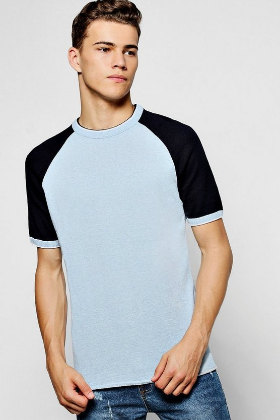 Pale Blue Short Sleeve Crew Neck Knitted T-Shirt