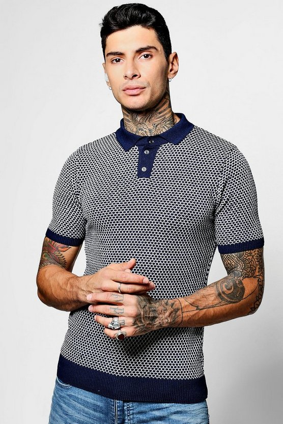 Short Sleeve Basket Stitch Knitted Polo