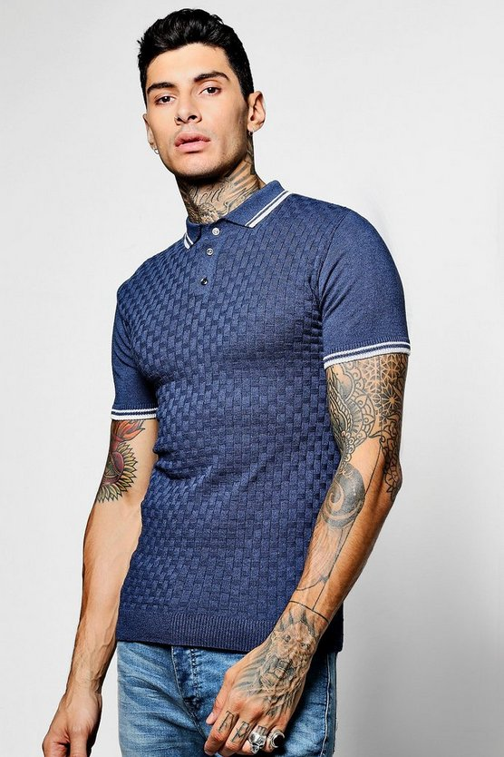 Short Sleeve Jacquard Knit Polo