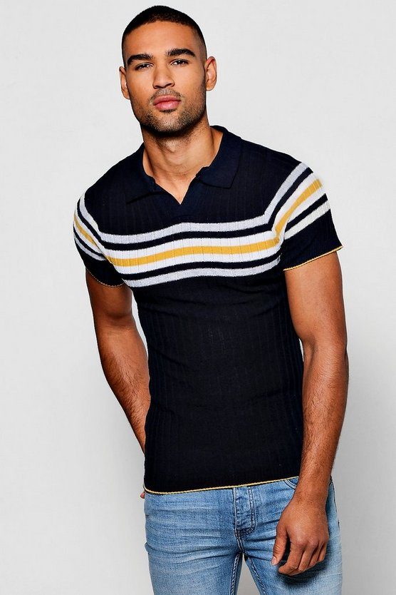 Reverse Collar Ribbed Polo With Stripe Detail
