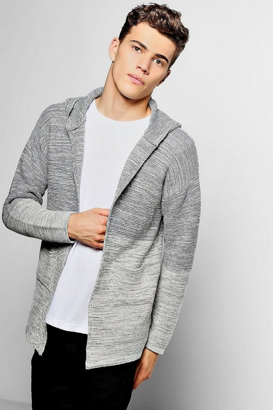 Grey Ombre Knit Open Hooded Cardigan