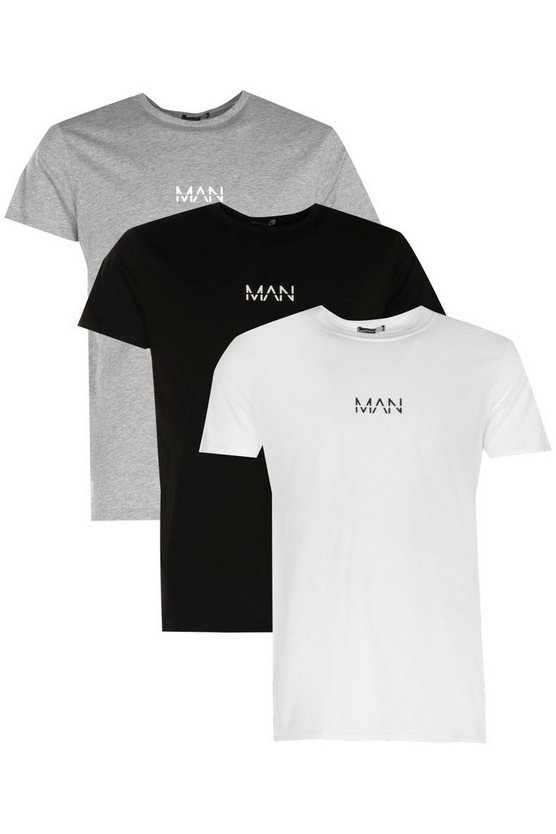 3 Pack Original MAN Logo Print T-Shirt