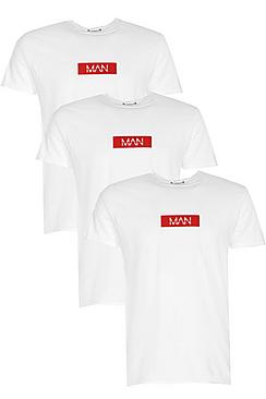 Bild på 3 Pack MAN Red Box Logo Print T-Shirt