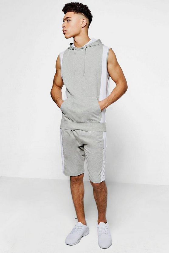 Sleeveless Hooded Colour Block Set