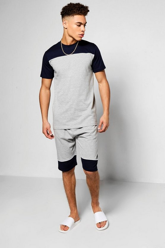Colour Block Yoke T-Shirt and Short Set