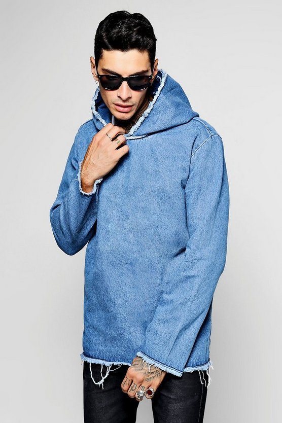 Mid Blue Oversized Distressed Denim Hoodie
