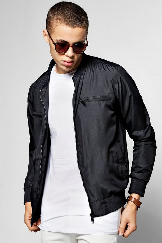 Polyester Bomber Jacket With Chest Zips