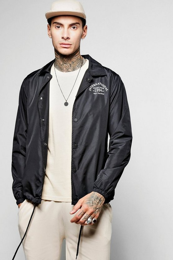 Polyester Coach Jacket With City Back Print