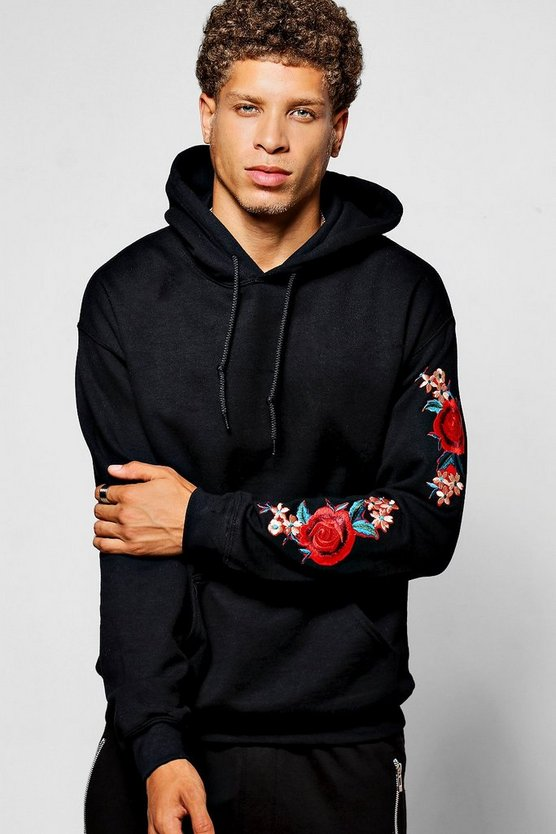 Twin Rose Sleeve Embroidered Hoodie