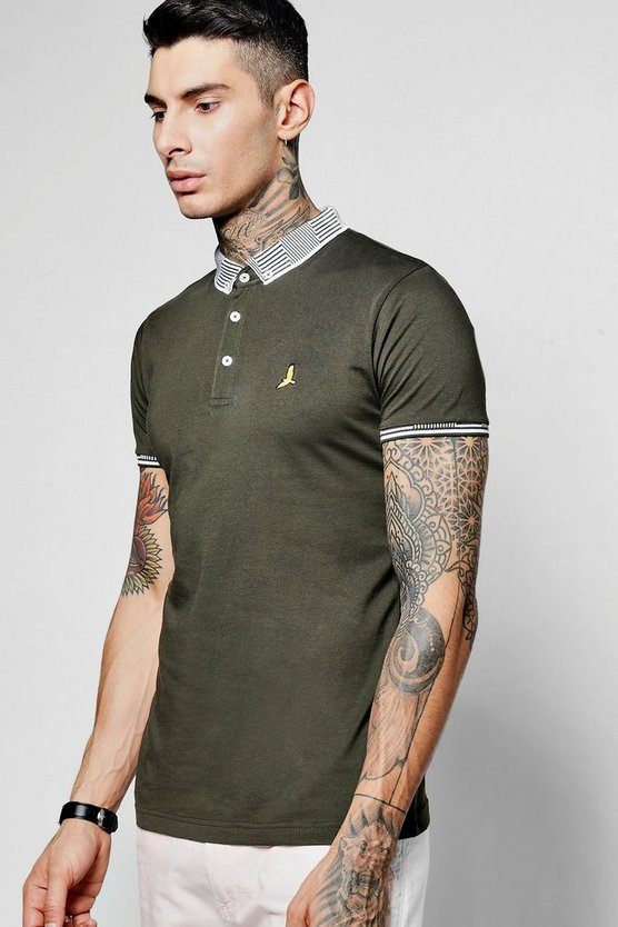 Jersey Polo With Jacquard Collar