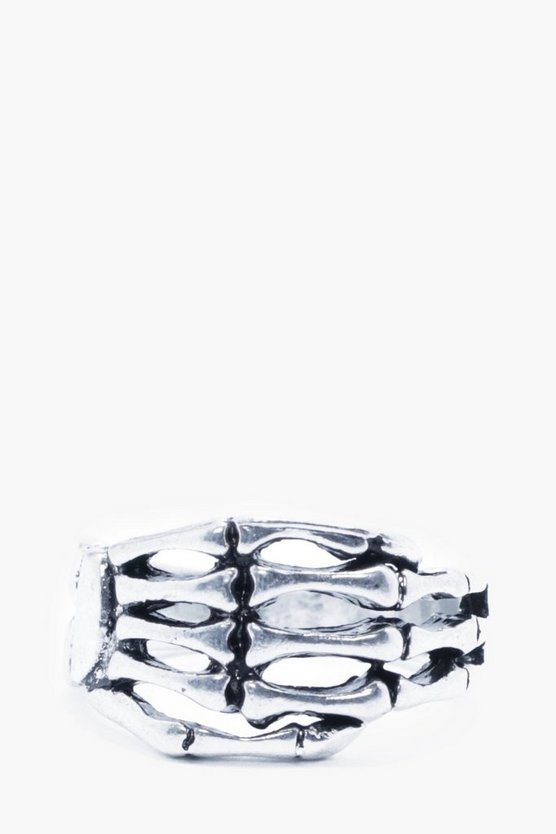Silver Sheleton Hand Ring