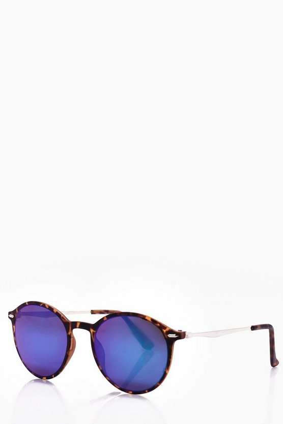 Round Lense Sunglasses With Blue Lens