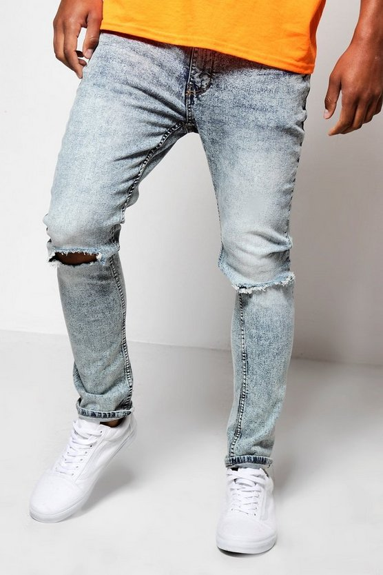 Pale Blue Skinny Fit Jeans With Distressing