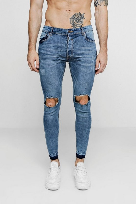 Pale Blue Skinny Fit Ripped Knee Jeans