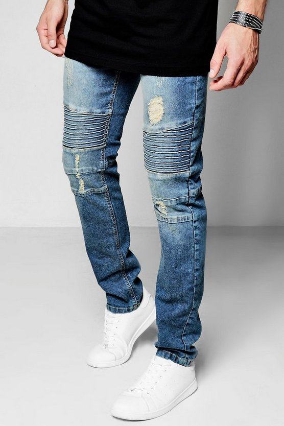 Mid Blue Denim Biker Jeans In Skinny Fit