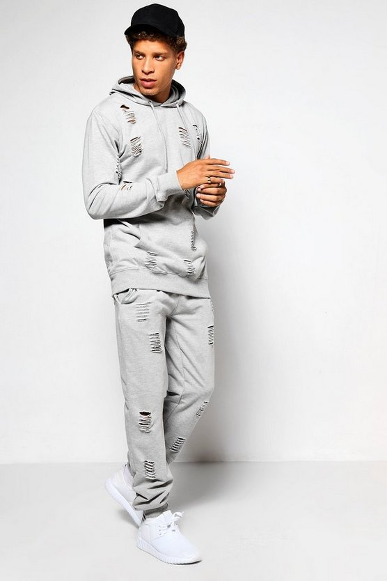 Skinny Fit Distressed Tracksuit
