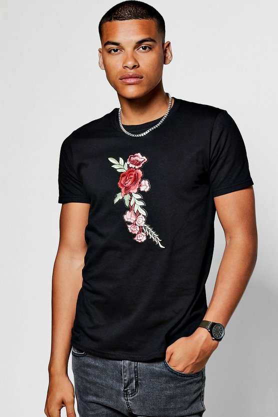 Floral Chest Embroidered T-Shirt
