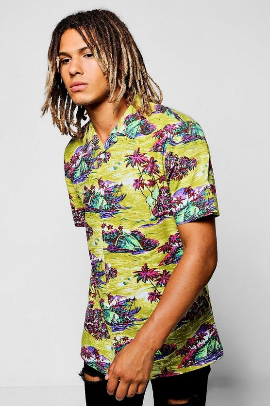Palm Tree Revere Collar Shirt