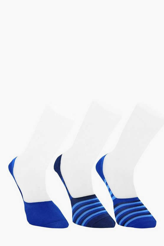3 Pack Stripe Invisible Socks