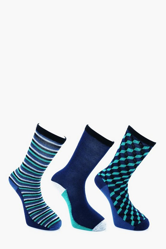 3 Pack Geo Stripe Socks