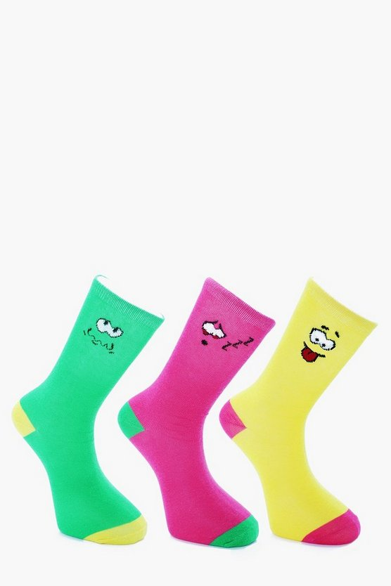 3 Pack Smiley Socks
