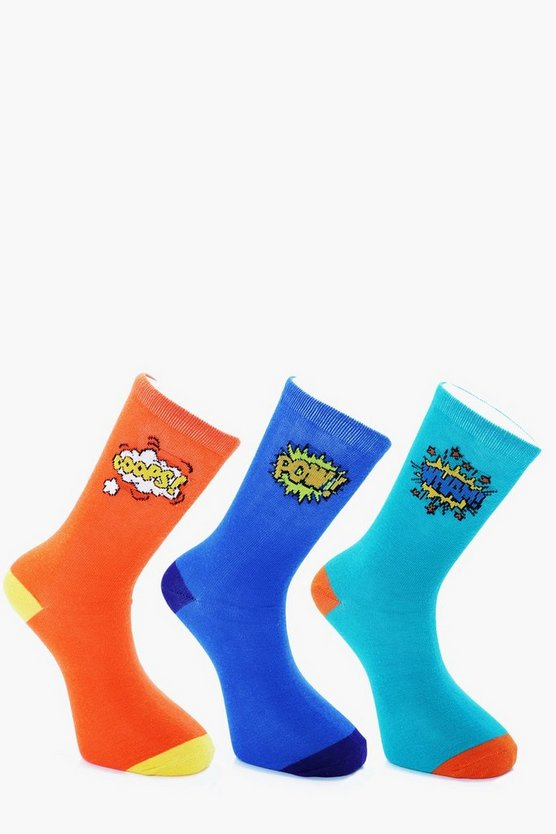 3 Pack Cartoon Slogan Socks