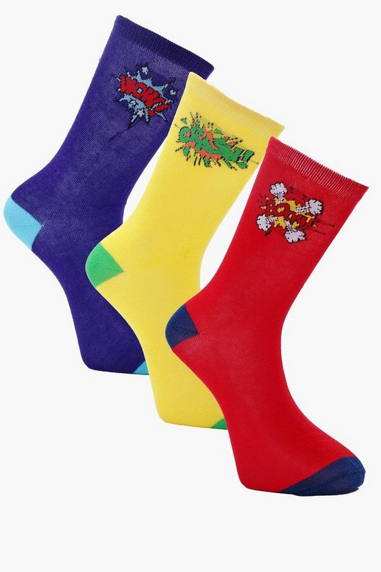 Multi Pack Cartoon Slogan Socks