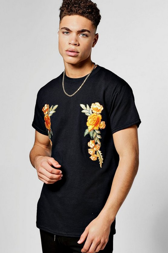Bright Floral Embroidered T-Shirt