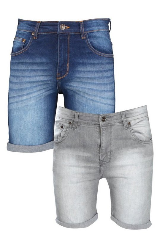 2 Pack Skinny Fit Denim Shorts In Mixed Length
