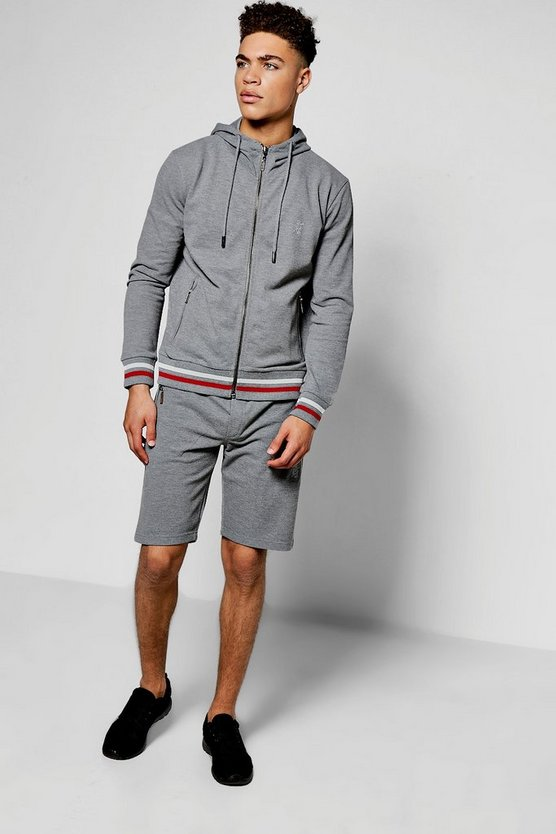 Cotton Pique Sport Stripe Short Tracksuit
