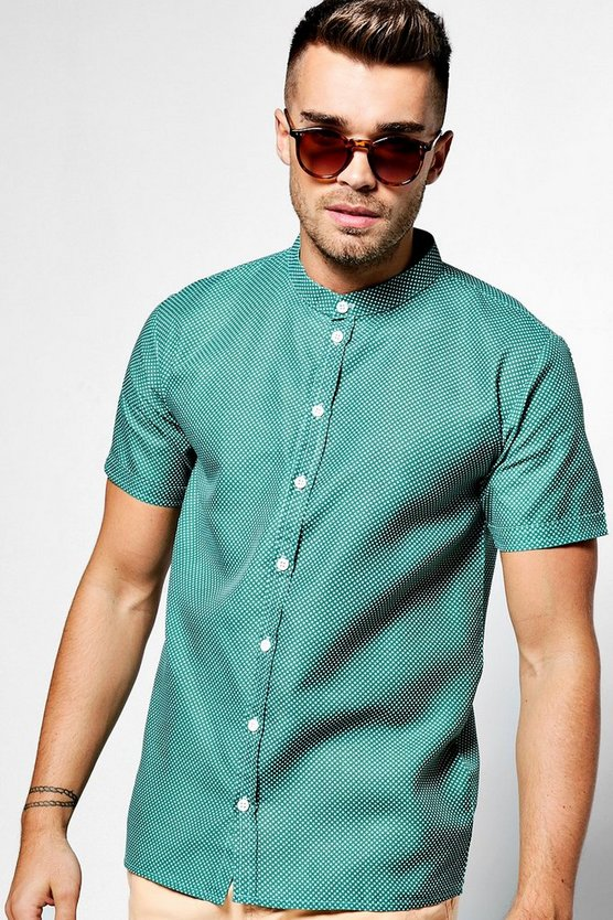 Polka Dot Print Short Sleeve Grandad Collar Shirt