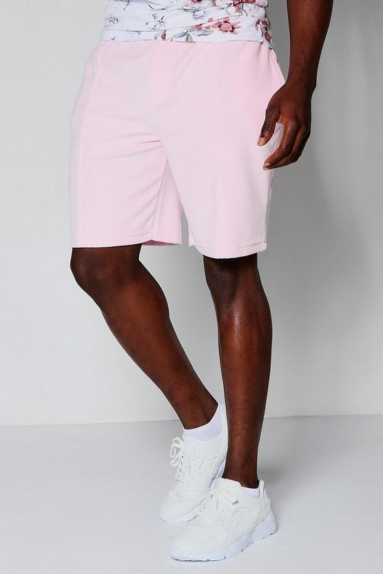 Pink Velour Mid Length Shorts