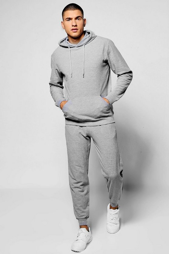 Skinny Fit Over The Head Waffle Tracksuit