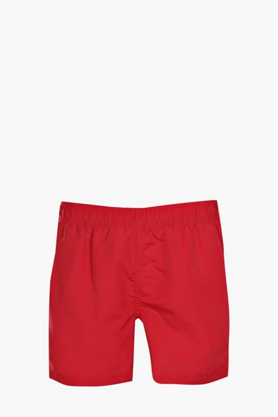 Red Plain Swim Short