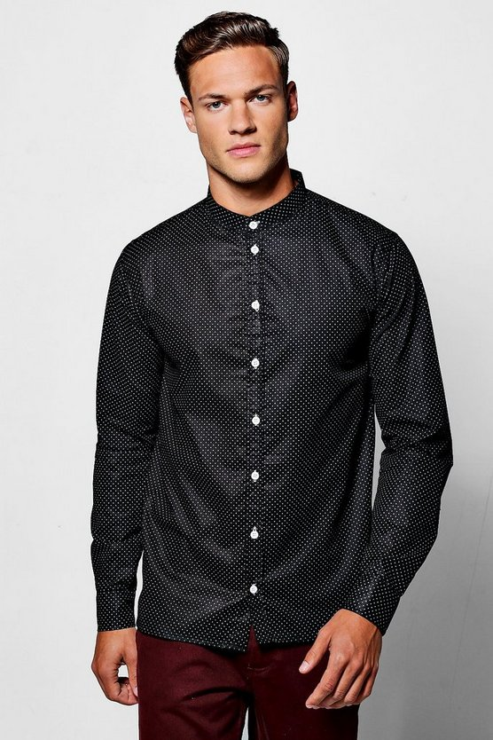 Polka Dot Print Grandad Collar Long Sleeve Shirt