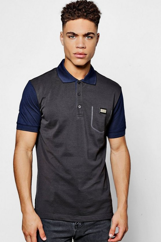 Contrast Sleeve Cotton Polo Shirt