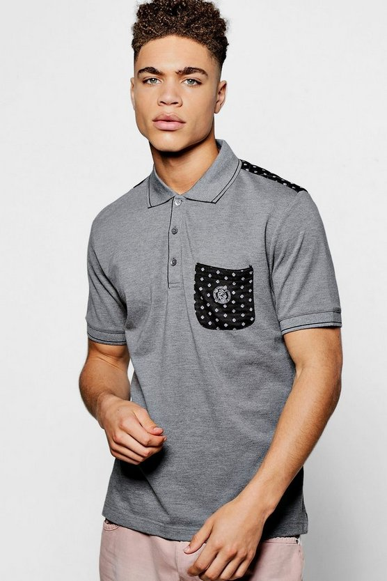 Pocket Print Cotton Polo