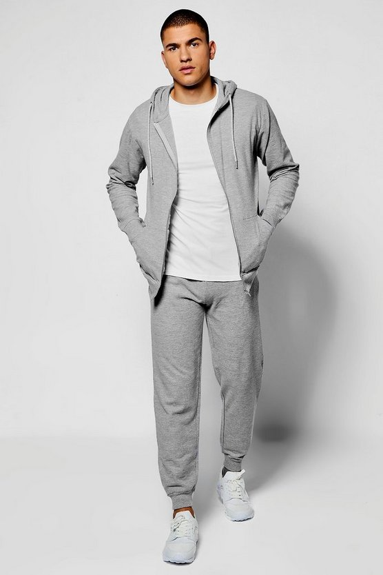 Skinny Fit Waffle Hooded Tracksuit