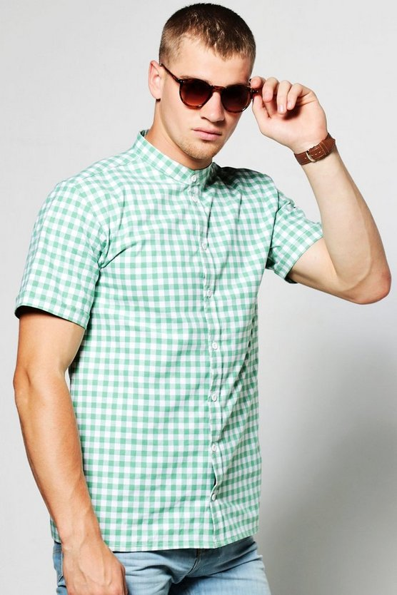 Gingham Short Sleeve Grandad Collar Shirt