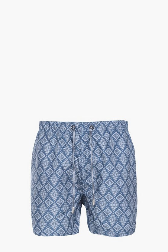 Navy Aztec Print Swim Short