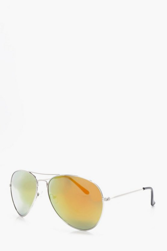 Silver Aviator Sunglasses With Orange Lense